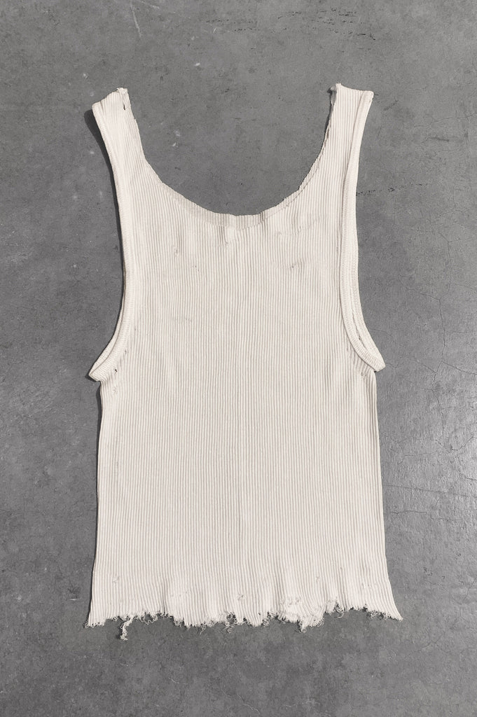Punk Rock Lies Distressed Cut Off Tank Top 057 in White - Small - One More Chance Vintage