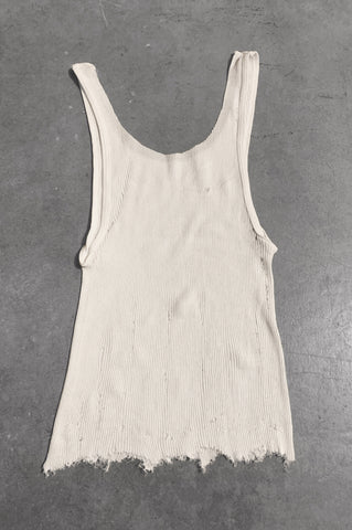 Punk Rock Lies Distressed Cut Off Tank Top 058 in White - Small - One More Chance Vintage