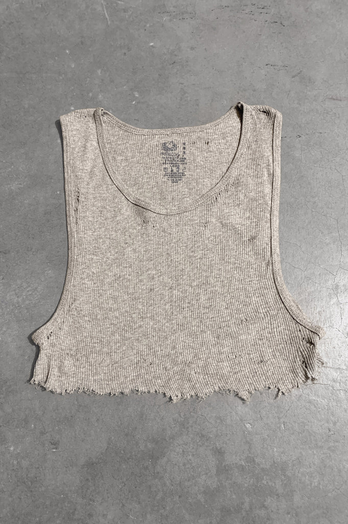 Punk Rock Lies Distressed Cut Off Underboob Crop Tank Top 054 in Gray - Medium - One More Chance Vintage