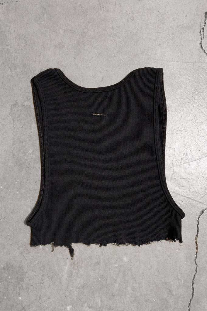 Punk Rock Lies Distressed Cut Off Underboob Crop Tank Top 077 in Black - Medium - One More Chance Vintage