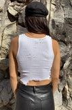 Punk Rock Lies Cutoff Distressed White Crop Tank - One More Chance Vintage