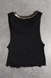Punk Rock Lies Distressed Cut Off Pinned Neck Crop Tank Top 048 in Black - Small - One More Chance Vintage