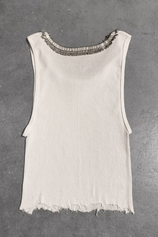 Punk Rock Lies Distressed Cut Off Pinned Neck Tank Top 049 in White - Large - One More Chance Vintage