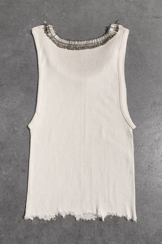 Punk Rock Lies Distressed Cut Off Pinned Neck Tank Top 051 in White - Small - One More Chance Vintage