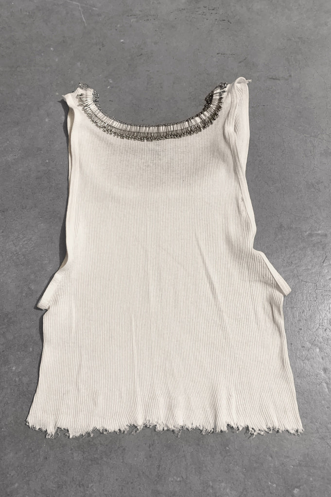 Punk Rock Lies Distressed Cut Off Pinned Neck Tank Top 052 in White - Large - One More Chance Vintage