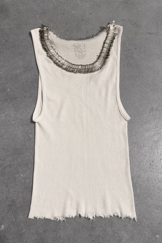 Punk Rock Lies Distressed Cut Off Pinned Neck Tank Top 064 in White - Medium - One More Chance Vintage