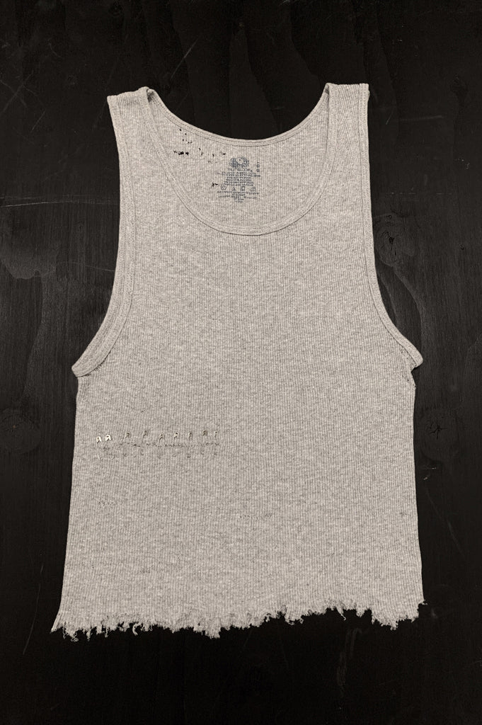 Punk Rock Lies Cutoff Distressed & Pinned Tank Top 040 in Gray - One More Chance Vintage