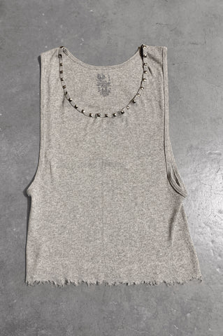 Punk Rock Lies Distressed Cut Off Studded Tank Top 076 in Gray - Large - One More Chance Vintage