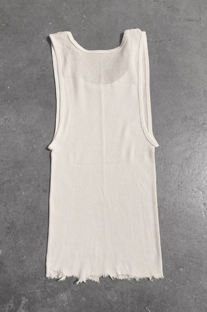 Punk Rock Lies Distressed Cut Off Studded Tank Top 065 in White - Small - One More Chance Vintage