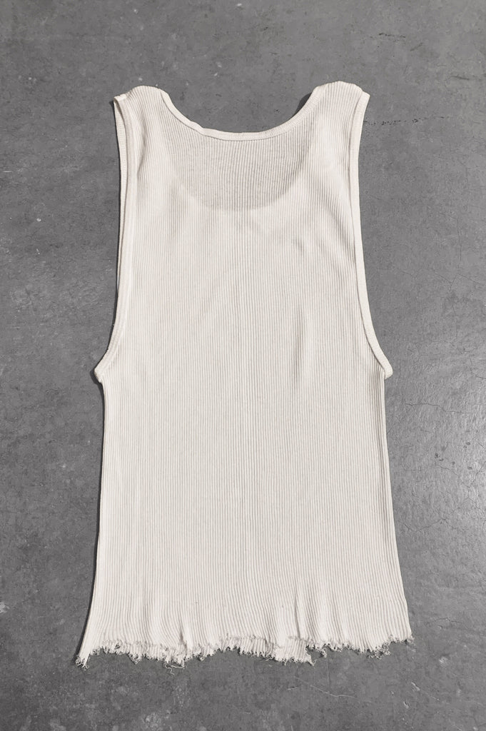 Punk Rock Lies Distressed Cut Off Studded Tank Top 066 in White - Medium - One More Chance Vintage