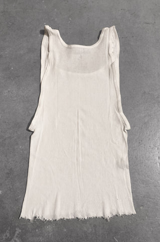 Punk Rock Lies Distressed Cut Off Studded Tank Top 067 in White - Large - One More Chance Vintage