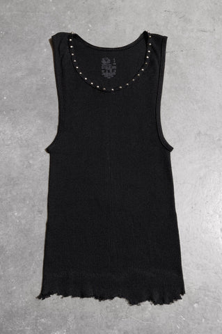 Punk Rock Lies Distressed Cut Off Studded Tank Top 068 in Black - Small - One More Chance Vintage