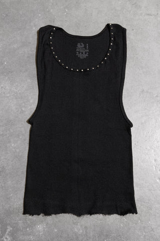 Punk Rock Lies Distressed Cut Off Studded Tank Top 069 in Black - Medium - One More Chance Vintage