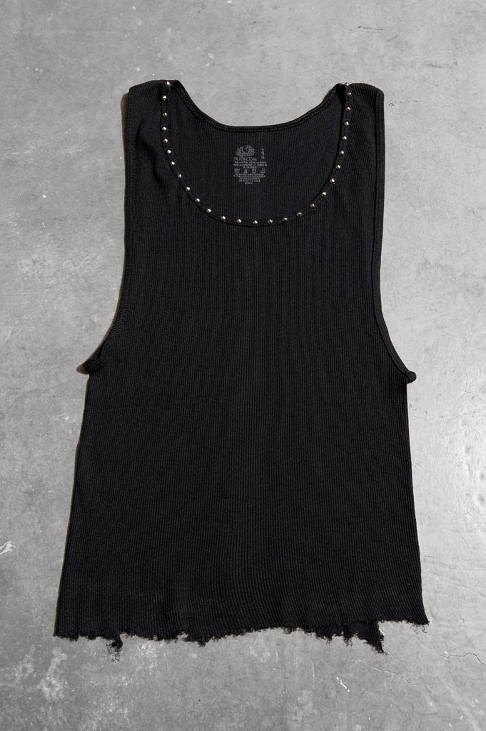 Punk Rock Lies Distressed Cut Off Studded Tank Top 070 in Black - Large - One More Chance Vintage