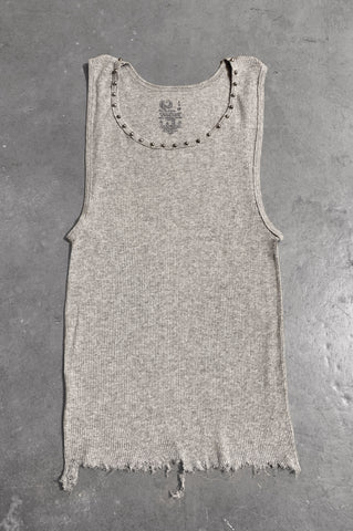 Punk Rock Lies Distressed Cut Off Studded Tank Top 071 in Gray - Small - One More Chance Vintage