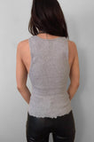 Punk Rock Lies Distressed Cut Off Studded Tank Top 072 in Gray - Medium - One More Chance Vintage