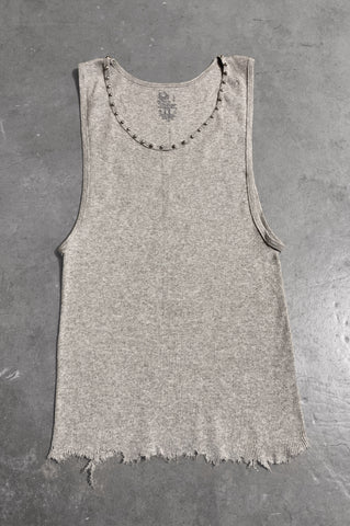 Punk Rock Lies Distressed Cut Off Studded Tank Top 073 in Gray - Large - One More Chance Vintage