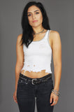 Punk Rock Lies Cutoff Studded Distressed Tank White - One More Chance Vintage