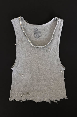 Punk Rock Lies Cutoff Studded, Pinned & Distressed Crop Tank