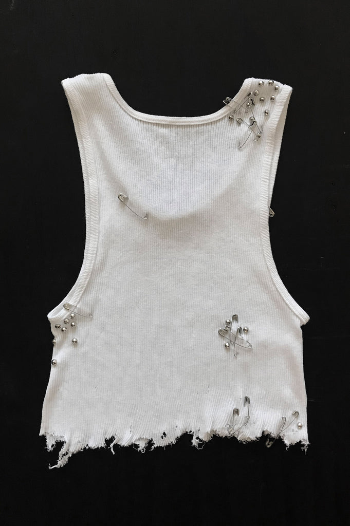 One More Chance Vintage - Punk Rock Lies Cutoff Studded, Pinned & Distressed Crop Tank - White