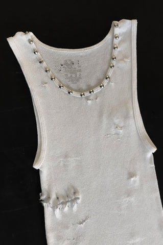 Punk Rock Lies Cutoff Studded Pinned Distressed White Tank Top - One More Chance Vintage