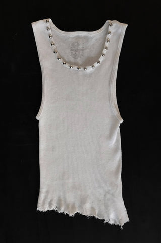Punk Rock Lies Cut Off Studded Distressed Tank 011 - White