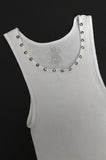 Punk Rock Lies Cutoff Studded Tank - White