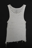 Punk Rock Lies Cutoff Studded & Distressed Tank - White