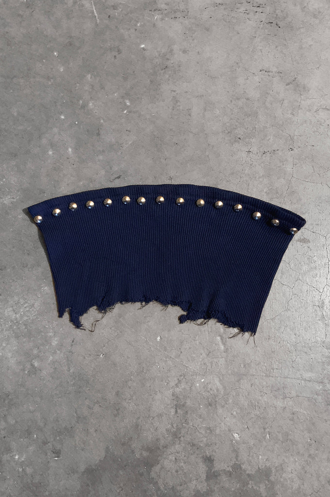 Punk Rock Lies Studded Cut Off Underboob Crop Tube Top Tank 085 in Dark Blue - Small - One More Chance Vintage