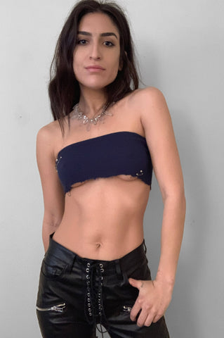 Punk Rock Lies Studded & Pinned Underboob Crop Tube Top Tank 086 in Dark Blue - Small - One More Chance Vintage