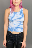 Punk Rock Lies Day Tripper Studded & Safety Pin Crop Tank in Blue Tie Dye - One More Chance Vintage