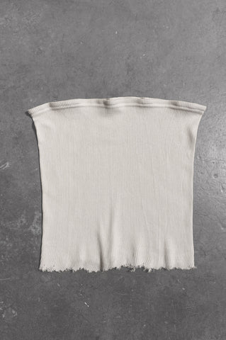 Punk Rock Lies Ribbed Cut Off Tube Top Tank 080 in White - Medium - One More Chance Vintage