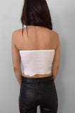 Punk Rock Lies Ribbed Cut Off Crop Tube Top Tank 078 in White - Small - One More Chance Vintage