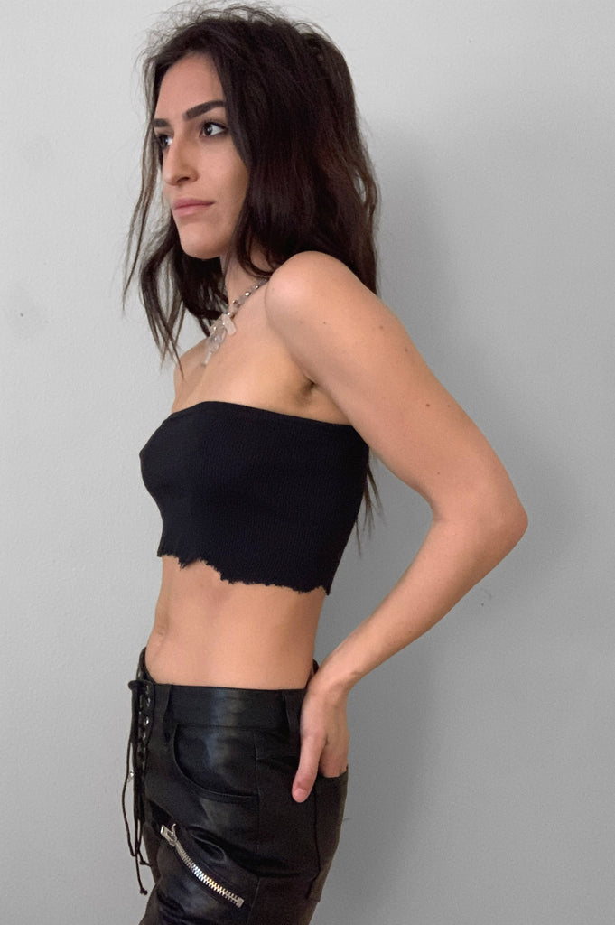 Punk Rock Lies Ribbed Cut Off Crop Tube Top Tank 079 in Black - Small - One More Chance Vintage
