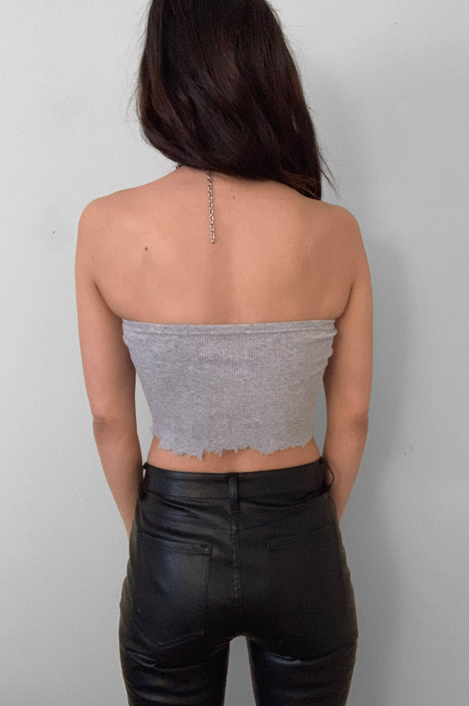 Punk Rock Lies Ribbed Cut Off Crop Tube Top Tank 082 in Gray - Medium - One More Chance Vintage