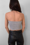 Punk Rock Lies Ribbed Cut Off Crop Tube Top Tank 084 in Gray - Large - One More Chance Vintage