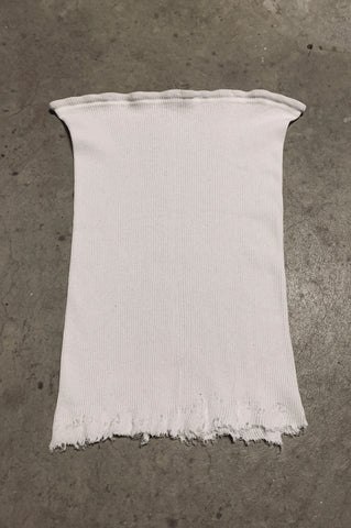 Punk Rock Lies Ribbed Cut Off Long Tube Top Tank in White - Available in S/M - One More Chance Vintage