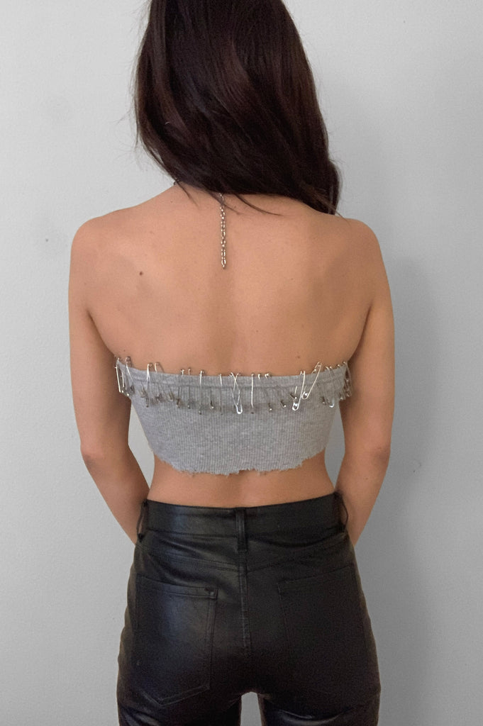 Punk Rock Lies Safety Pinned Cut Off Underboob Crop Tube Top Tank 093 in Gray - Medium - One More Chance Vintage