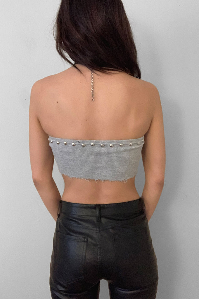 Punk Rock Lies Studded Cut Off Underboob Crop Tube Top Tank 087 in Gray - Small - One More Chance Vintage