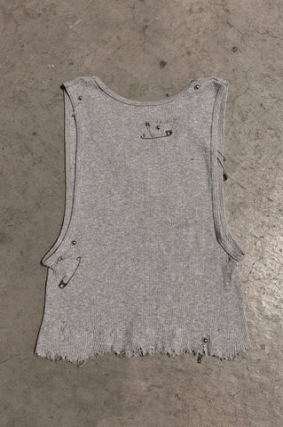 PRL IGGY Distressed Cut Off Safety Pin & Studded Crop Tank Top in Gray - Available in Small, Medium & Large - One More Chance Vintage