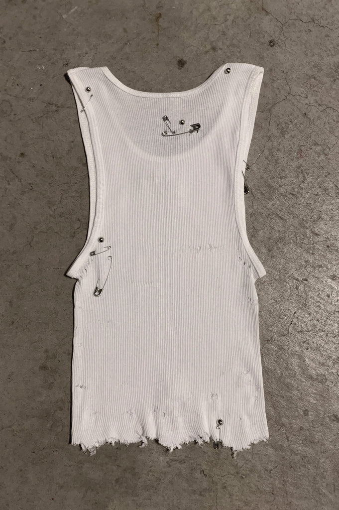 PRL IGGY Distressed Cut Off Safety Pin & Studded Tank Top 119 in White - Small - One More Chance Vintage