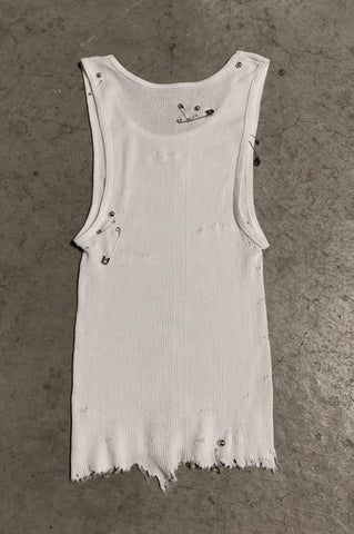 PRL IGGY Distressed Safety Pin & Studded Long Tank Top 120 in White - Small - One More Chance Vintage