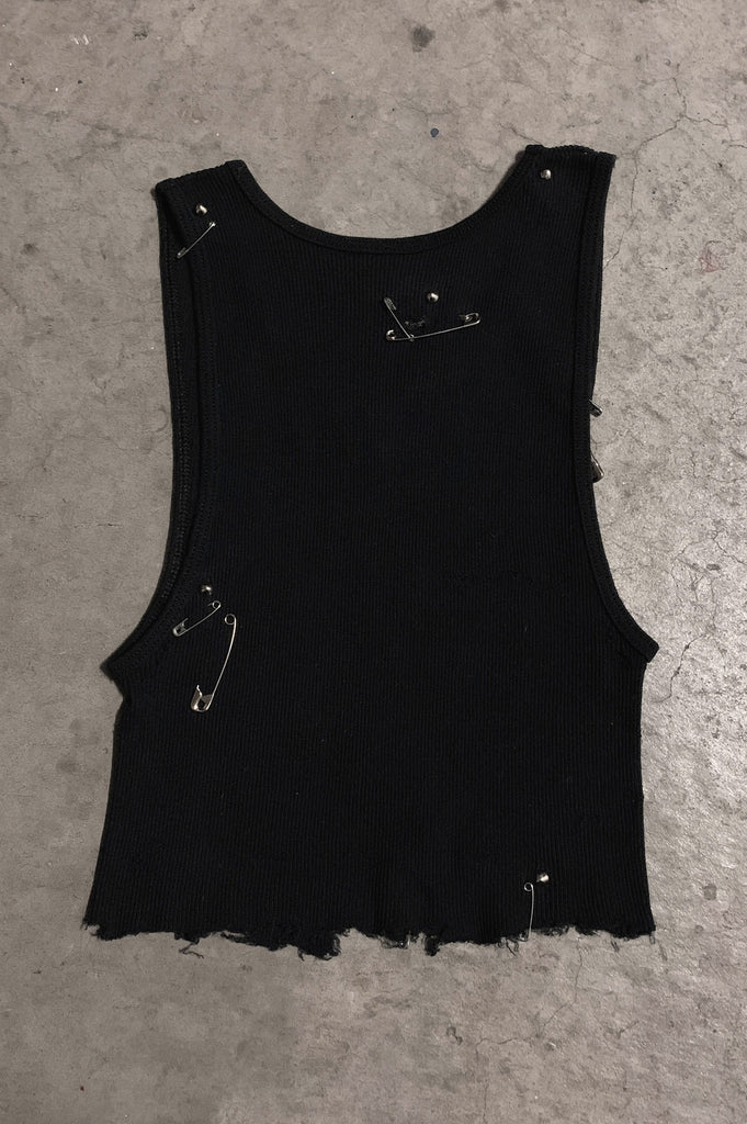 PRL IGGY Cut Off Safety Pin & Studded Crop Tank Top in Black - Available in Small, Medium & Large - One More Chance Vintage
