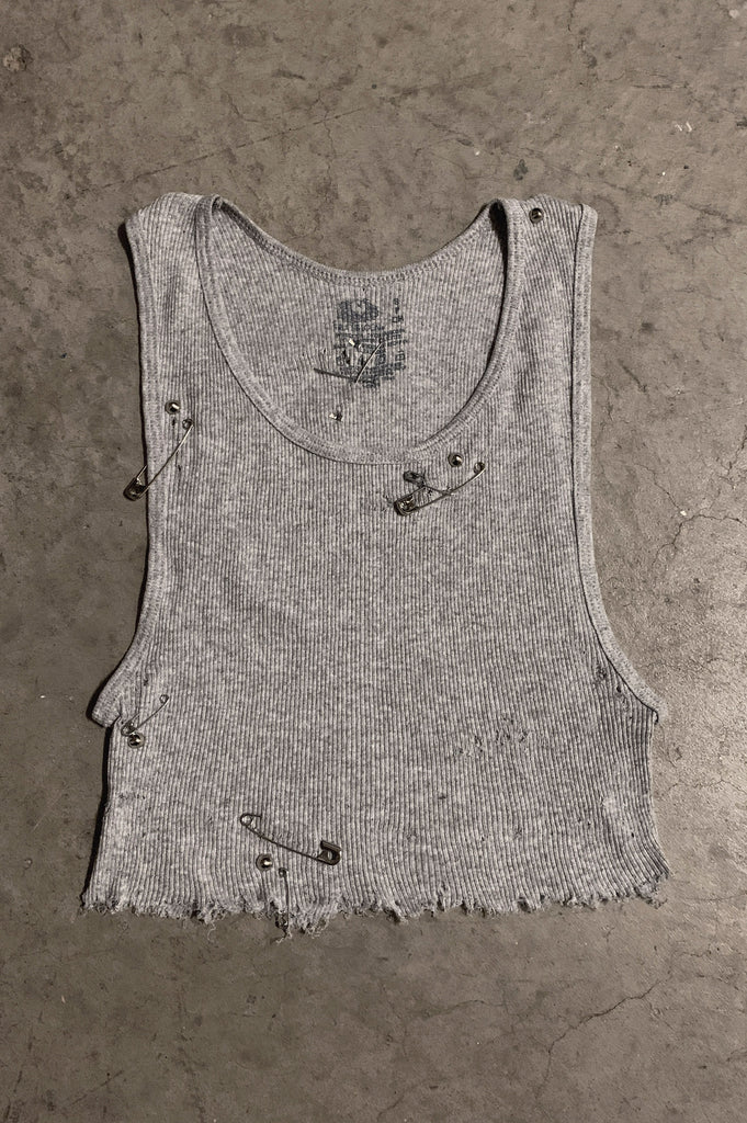 PRL JETT Distressed Cut Off Safety Pin & Studded Crop Tank Top 204 in Gray - Small - One More Chance Vintage