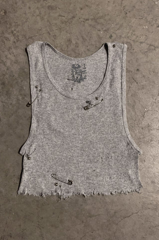 PRL IGGY Distressed Cut Off Safety Pin & Studded Crop Tank Top in White