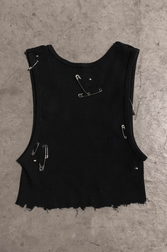 PRL JETT Underboob Safety Pin & Studded Crop Tank Top 129 in Black - Small - One More Chance Vintage