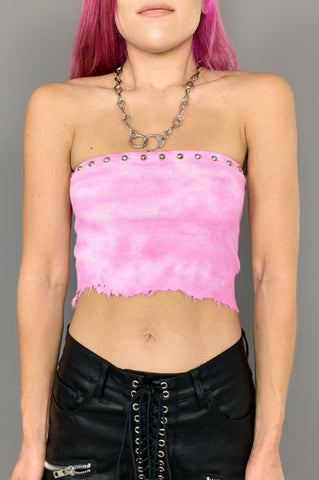 Punk Rock Lies Distressed Cut Off Pinned Neck Crop Tank Top 048 in Black - Small