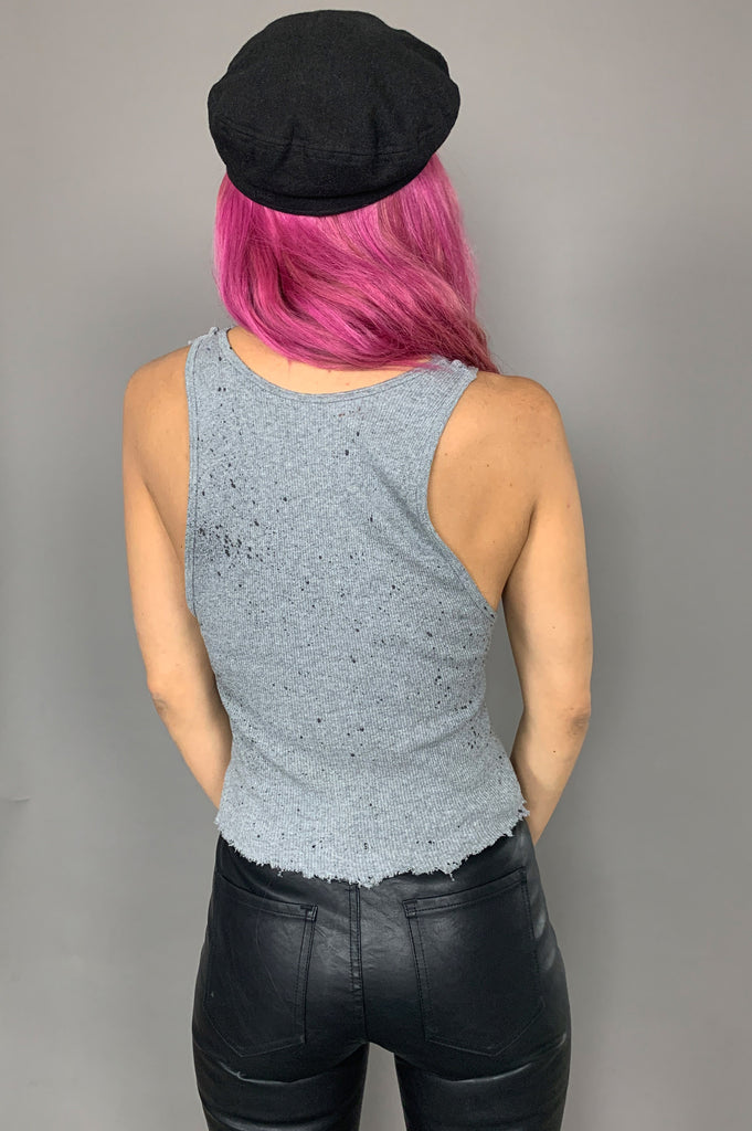 Punk Rock Lies Vintage Hanes Gray Distressed Cutoff Paint Splattered Tank Top 202 in Gray - Large - One More Chance Vintage