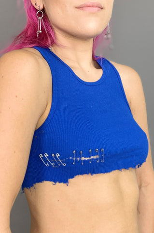 Punk Rock Lies Pin It Safety Pin Distressed Cut Off Underboob Crop Tank Top in Blue - One More Chance Vintage