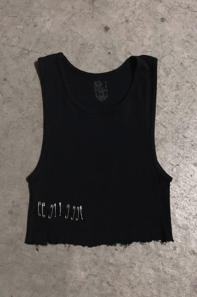 PRL Pin It Cut Off Underboob Safety Pin Crop Tank Top in Black - Available in Small, Medium & Large - One More Chance Vintage
